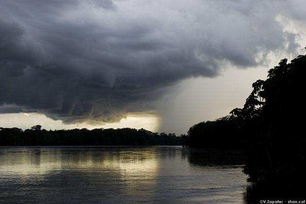Tormenta y lluvia sobre el rio Aguarico, Cuyabeno, Ecuador. Storm cloud and rain over Amazonian Jungle, Cuyabeno, Ecuador
