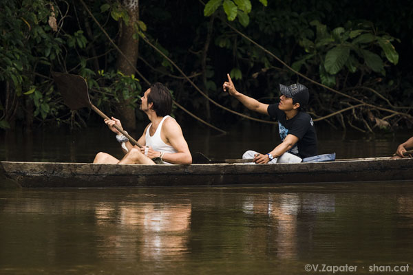 Waorani paddling and looking for monkeys
