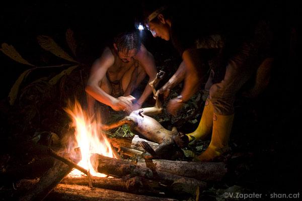 Waorani cocinando un mono