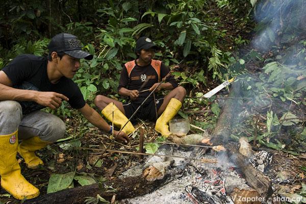 Waoranis cocinando mono a la brasa