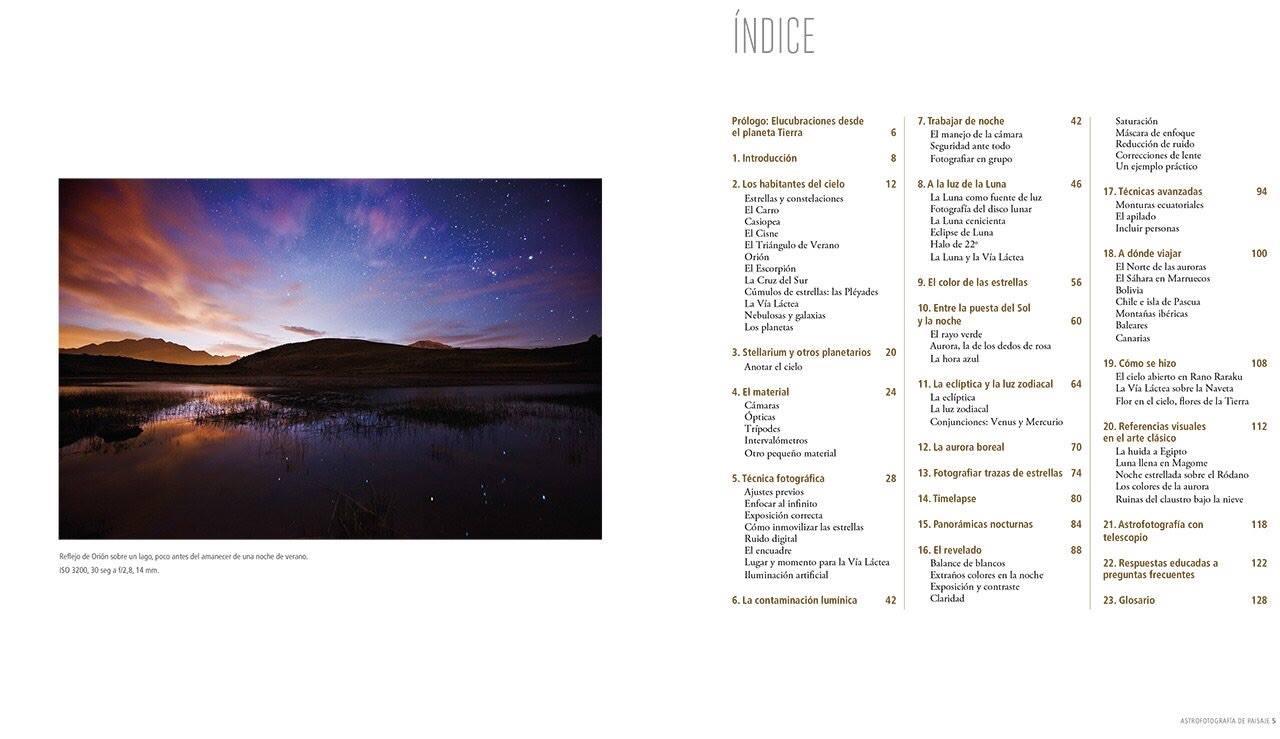 """Índice del libro """"Astrofotografia de paisaje"""". Clica para verlo más grande."""