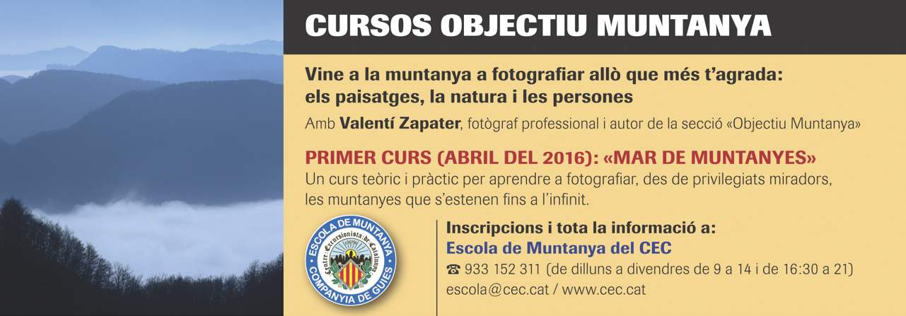 Anuncio de los cursos Objectiu Muntanya en la revista Muntanya nº 914